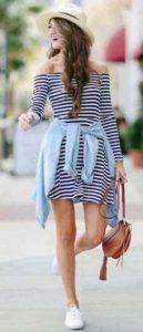 φόρεμα με οριζόντιες ρίγες