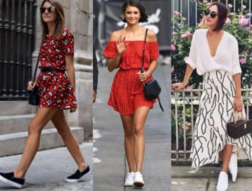 γυναικεία ντυσίματα με αθλητικά παπούτσια