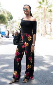 μαύρο φλοράλ παντελόνι
