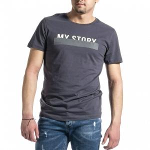 Ανδρική γκρι κοντομάνικη μπλούζα