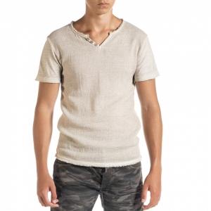 Ανδρική μπεζ κοντομάνικη μπλούζα