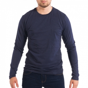Ανδρική μπλε μπλούζα με τσέπη