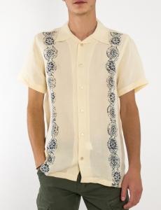 Ανδρικό εκρού λινό πουκάμισο