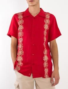 Ανδρικό κόκκινο λινό πουκάμισο