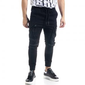Ανδρικό μαύρο παντελόνι cargo