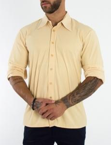Ανδρικό μπεζ πουκάμισο μονόχρωμο