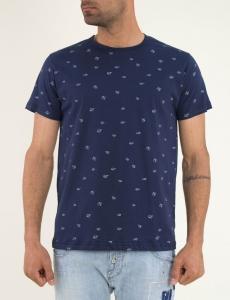 Ανδρικό μπλε Tshirt μικροσχέδιο