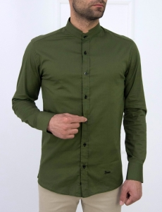 Ανδρικό χακί μονόχρωμο πουκάμισο