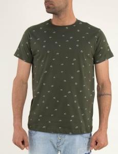 Ανδρικό χακί Tshirt μικροσχέδιο