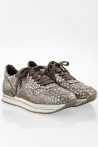 Ασημένια Allacciato Python Print Sneakers με Μεταλλικό Δέρμα / Μέγεθος: 37.5 - Εφαρμογή: 37