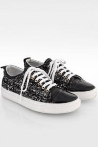 Ασπρόμαυρα Tweed Low-Τop Sneakers