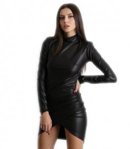 Ασύμμετρο εφαρμοστό φόρεμα ζιβάγκο δερματίνη (Μαύρο)