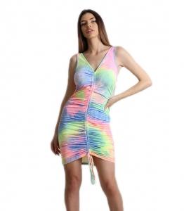 Εφαρμοστό φόρεμα σουρωτό tie dye