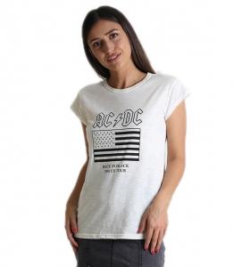 """Εκρού μπλούζα με τύπωμα \""""AC DC\"""""""