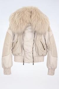 Εκρού Puffer Jacket με Γούνα