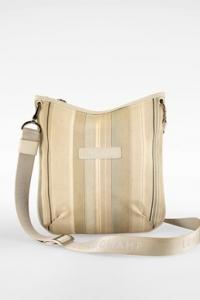 Εκρού Ριγέ Crossbody Τσάντα από Καμβά