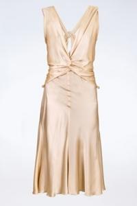 Εκρού Σατέν Midi Φόρεμα /