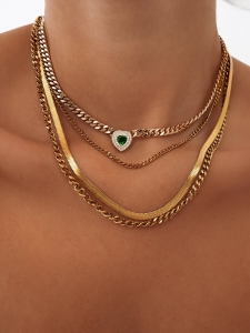 EMERALD HEART TRIPLE NECKLACE