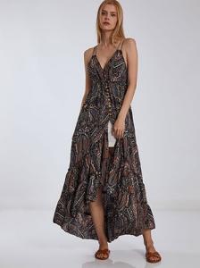 Εμπριμέ φόρεμα με κουμπιά SH9845.8112+2
