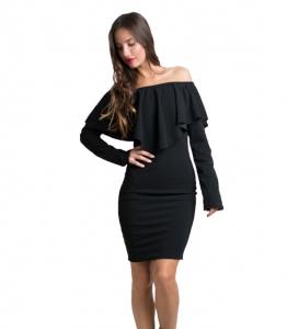 Φόρεμα bardot με βολάν (Μαύρο)