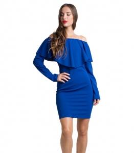 Φόρεμα bardot με βολάν (Μπλε)