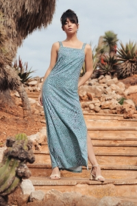 Φόρεμα μάξι με print - Μέντα