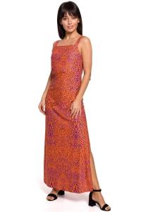 Φόρεμα μάξι με print - Πορτοκαλί