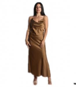Φόρεμα μάξι σατέν τιράντα (Κάμελ)