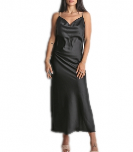 Φόρεμα μάξι σατέν τιράντα (Μαύρο)