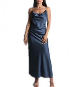 Φόρεμα μάξι σατέν τιράντα (Μπλε)