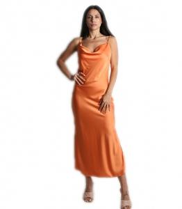 Φόρεμα μάξι σατέν τιράντα