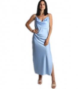 Φόρεμα μάξι σατέν τιράντα (Σιέλ)