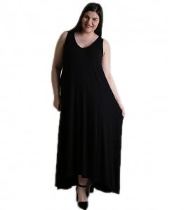 Φόρεμα με τιράντες και λωρίδα στο πίσω μέρος (Μαύρο)