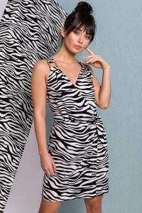 Φόρεμα με zebra print - Άσπρο