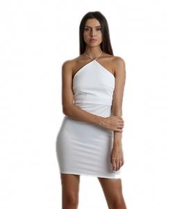 Φόρεμα μίνι εφαρμοστό εξώπλατο με δέσιμο (Λευκό)