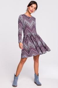 Φόρεμα μίνι με print - Μωβ