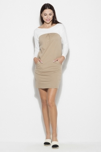 Φόρεμα μίνι με τσέπες - Μπεζ