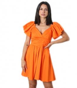 Φόρεμα μίνι με βολάν μανίκια (Πορτοκαλί)