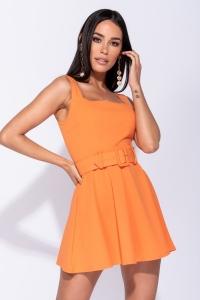 Φόρεμα μίνι με ζώνη - Πορτοκαλί