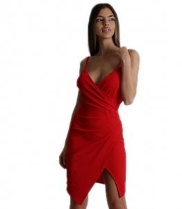Φόρεμα μίνι τιράντα με κρυφό φερμουάρ (Κόκκινο)
