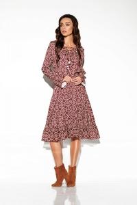 Φόρεμα μίντι μακρυμάνικο με print και βολάν στο μπροστινό μέρος - Καφέ