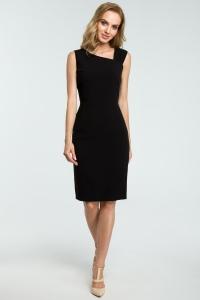 Φόρεμα μίντι με ασύμμετρη λαιμόκοψη - Μαύρο