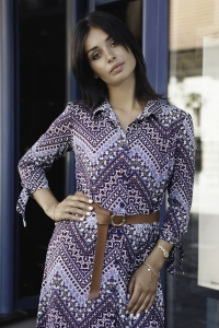 Φόρεμα μίντι με print, ζώνη