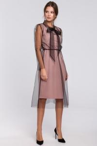 Φόρεμα μίντι με τούλι - Ροζ