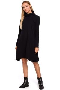 Φόρεμα μίντι με turtleneck - Μαύρο