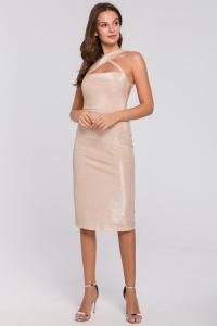 Φόρεμα μίντι μεταλιζέ με χιαστή
