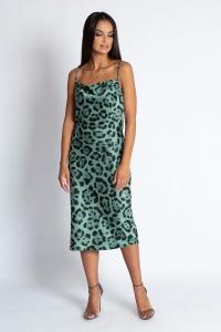 Φόρεμα μίντι ντραπέ λεοπάρ