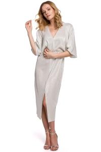 Φόρεμα μίντι wrap - Ασημί