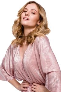 Φόρεμα μίντι wrap - Ροζ