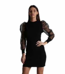 Φόρεμα πλεκτό με φουσκωτό μανίκι (Μαύρο)